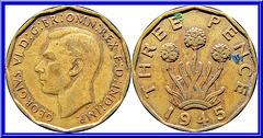 Royaume Uni  3 pence  1945
