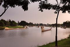 Thai barges on the Khlong ขบวนเสด็จพยุหยาตรา