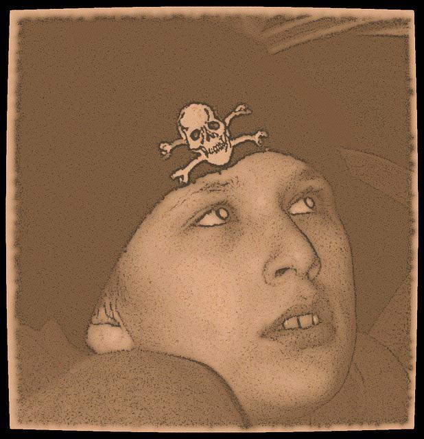 Dreaming boy with skullhead