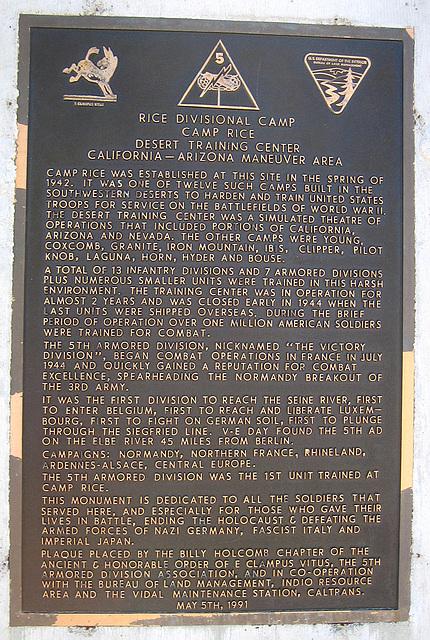 Camp Rice Plaque (5830)