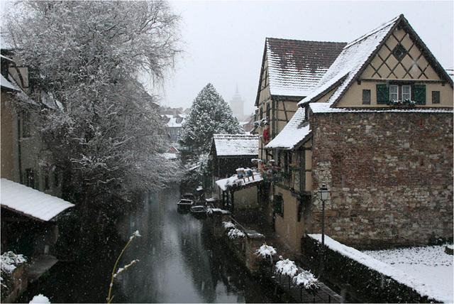 la petite Venise sous la neige : Colmar
