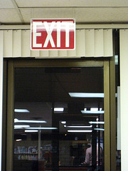 New Exit Sign In Carl May Center (6153)