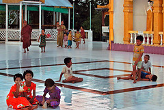 Children in the temple complex