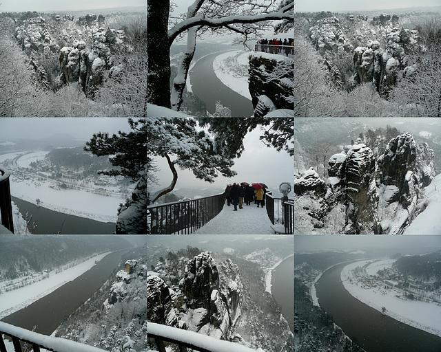 Bastei und Elbtal im Schnee - Dezember 2010 bei -5°C