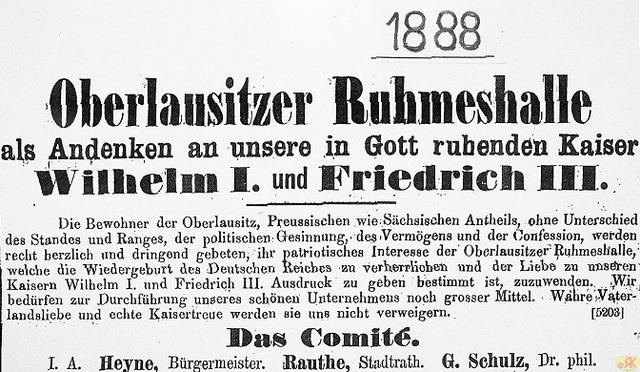1888 Bettelbrief Ruhmeshalle