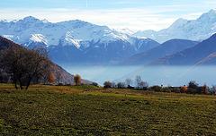 Blick von der Reschenpassstraße auf die Alpen, Südtirol