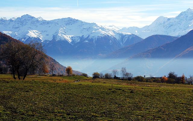 Blick vom Vinschgau auf die Alpen, Südtirol
