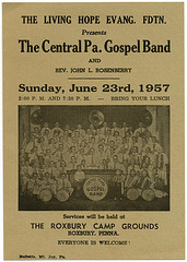 The Central Pennsylvania Gospel Band, Roxbury, Pa., June 23, 1957