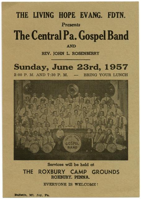The Central Pennsylvania Gospel Band, Roxbury, Pa., June 23, 1957