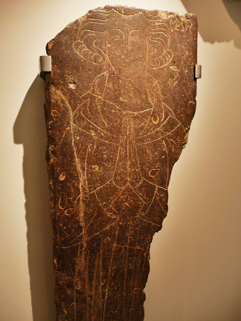 v+a c.1340 incised slab,found under the bank of england, probably from the church of st.christopher le stocks, destroyed 1780