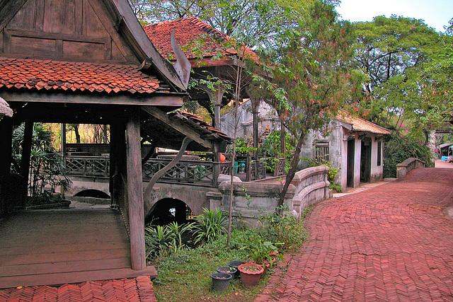 Paved way through the rebuilt old village