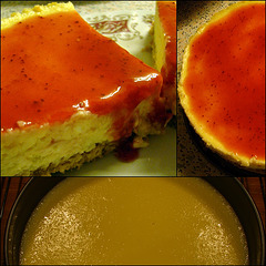 Cheesecake met vanille en aardbeiensaus