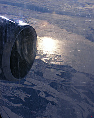 Dawn over a frozen landscape