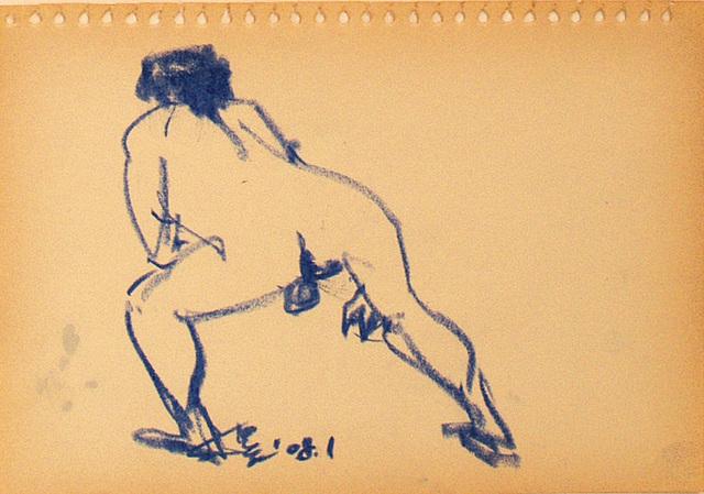 A Quick Nude-drawing男裸身速寫 oil pastel 18x26cm