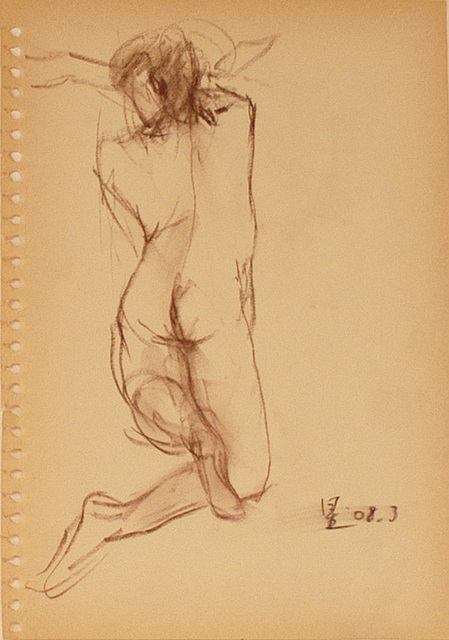 Quick Nude-drawing of woman女裸身速寫 pastel pencil 26x18cm, 2008