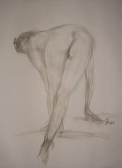 Croquis of Woman, Nude back view(Rapida Desegno de Virina Korpo Nuda女裸身速寫)_charcoal-pencil_56x38cm_2008_HO Song