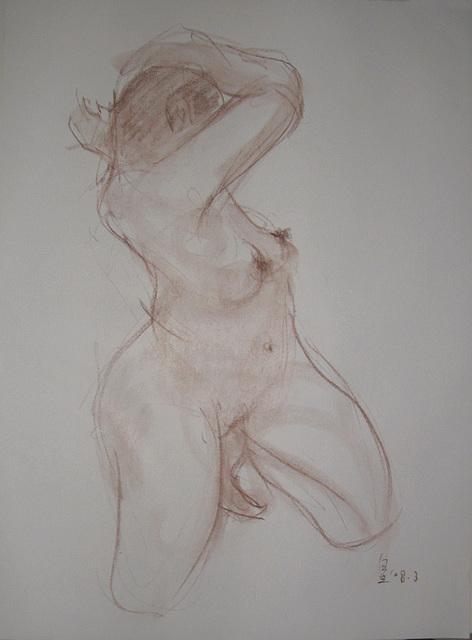 A Quick Nude-drawing女裸身速寫 pastel pencil 52x38cm