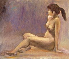 A Sitting Woman in Nude(=Nuda Virino Sidanta=女裸座像)_oil on canvas=olefarbe sur tolo_41x53cm(10f)_2009_HO Song
