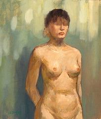 Staranta Virino nuda=A Standing Woman in Nude女半身裸立像_oil on canvas_53x41cm(10f)_2008