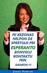 Kiu sperta Esperanto-uzanto bonvolas helpi ŝin ?