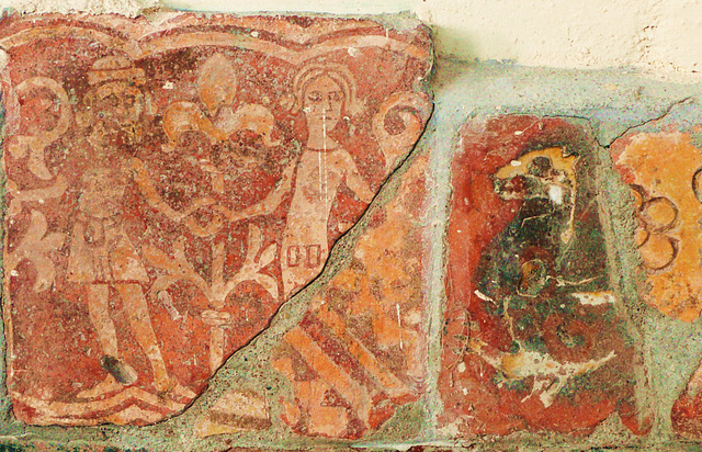 little dunmow essex c14 tiles, dancers from a tile designed to be used joined up  with others to depict a continuous panorama, and two incised fragments, one pseudo mosaic similar to those at meesden
