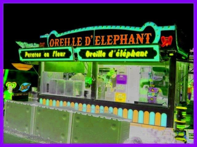Festival Équestre  / Equestrian festival  - Oreille d'éléphant et patates en fleur /  Elephant ears and flowery potatoes -  Le Sûroit au Québec. - Négatif RVB