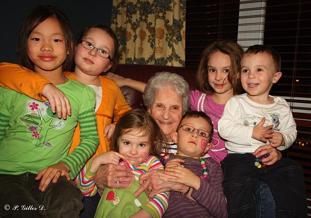 Mamie Solange et ses arrières-petits