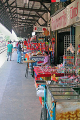 Sales stalls at the station platform
