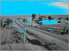 La Gaspésie !! Gaspesia !! Vue sur le fleuve du Motel Mont-Joli / N & B  avec bleu photofiltré.