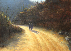 Traveling on Mountain Path(=Vojagxo en Monto-paseo산길동행山道同行)_oil on canvas=olee sur tolo_33.4x45.5cm(8p)_2008_HO Song