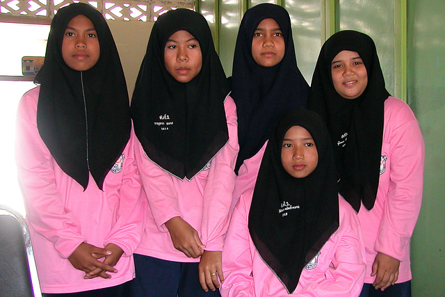 Muslim girls in their school dress