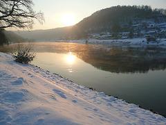 Wintermorgen an der Elbe bei -12°C
