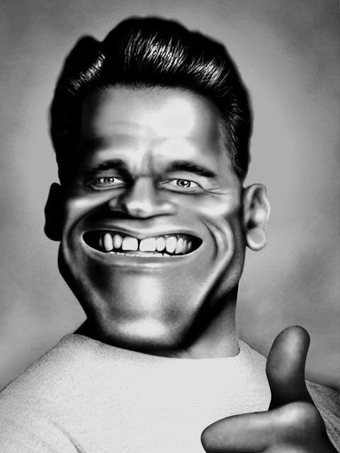 Arnĉjo Schwarzenegger kun fortikaj dentegoj