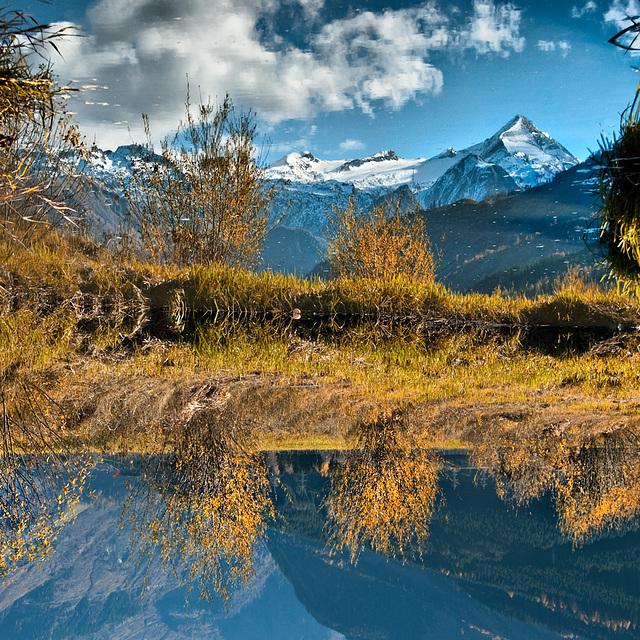 Tauern mountains reflecting