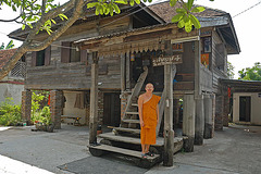 Abbot in front of his accommodation