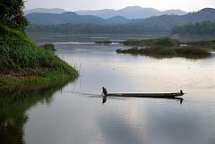 Evening setting at the Mekong riverside