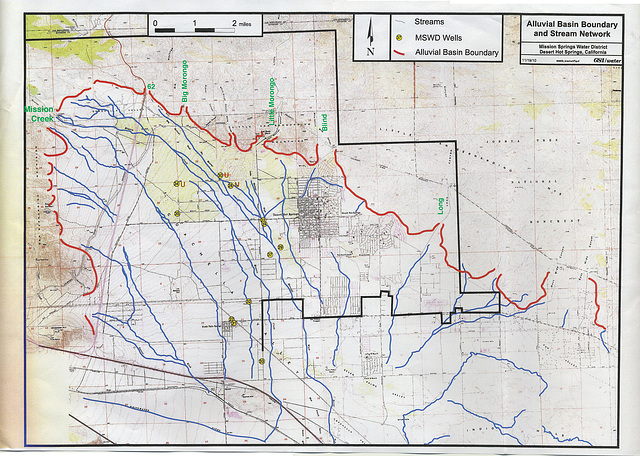Alluvial Basin Boundary and Stream Network - MSWD - annotated
