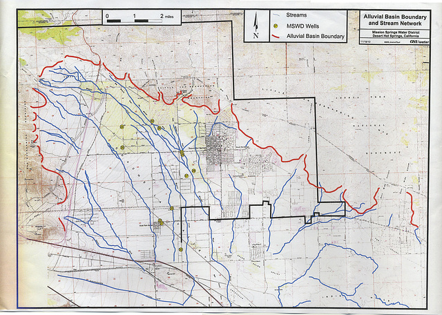 Alluvial Basin Boundary and Stream Network - MSWD