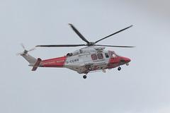 AgustaWestland AW139 Coastguard helicopter (G-CGWB) at Weymouth Beach.