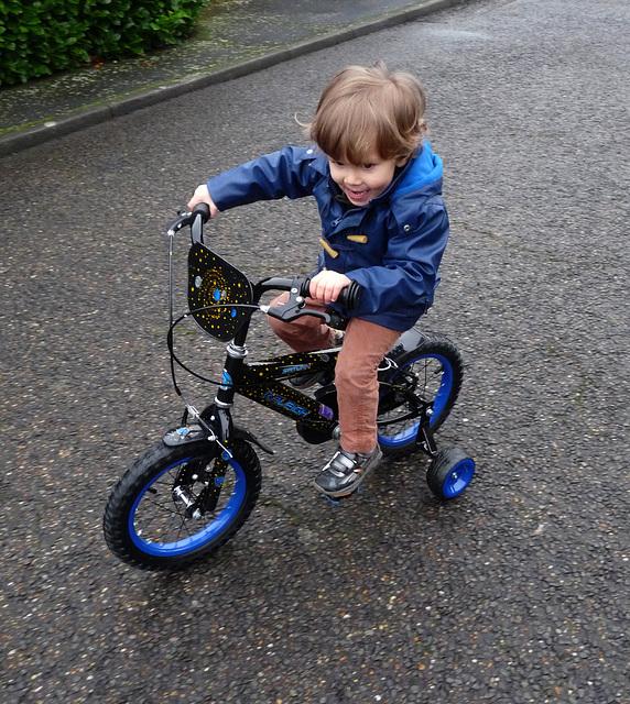 Dexter Enjoying His First Real Bike