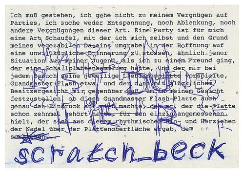 scratch_beck postcard: Ich muss gestehn, ich gehe nicht zu meinem Vergnügen auf Parties...