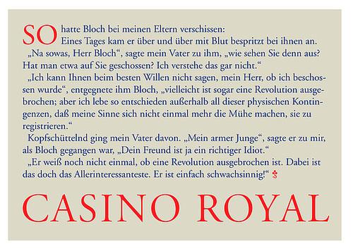 Casino Royal postcard: So hatte Bloch bei meinen Eltern verschissen...