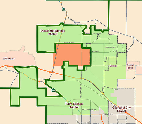 Riverside County Supervisorial 2011 DHS Redistricting Proposal (SOI highlighted)