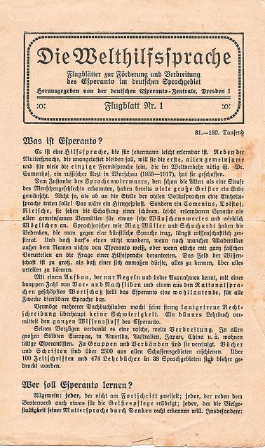 Esperanto auf einem Blatt (1) Die Welthilfssprache auf einem Flugblatt