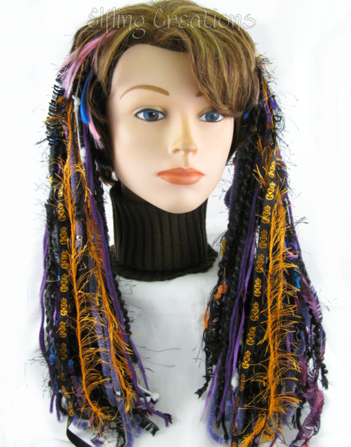 purple and orange pumpkin halloween hair falls dreadfalls