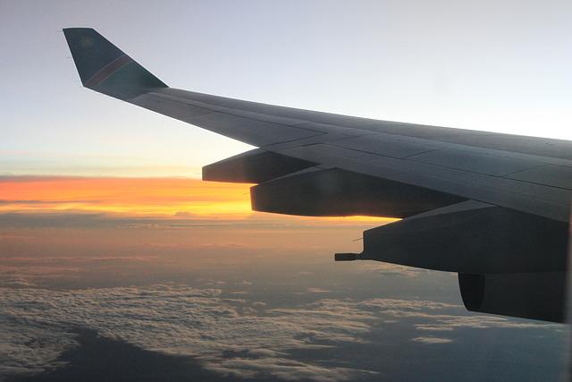 Über Namibia - kurz vor der Landung