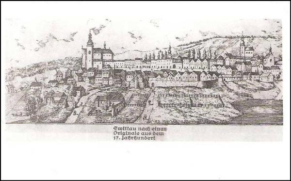 La urbo Svitavy en la j. 1650