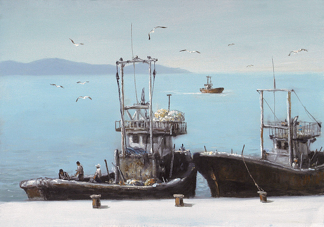 Fishing Boats (=어선=漁船=Fisxboatoj)_ oil on canvas=olee sur tolo_ 45x65.2cm(15p)_2008