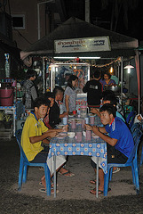 Market stall for selling roasted duck and knuckle of pork