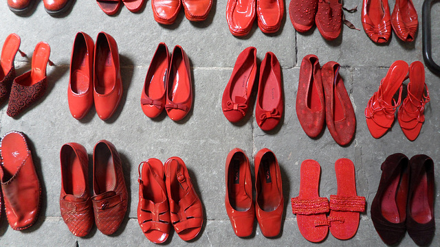 Red Shoe Installation in Florence